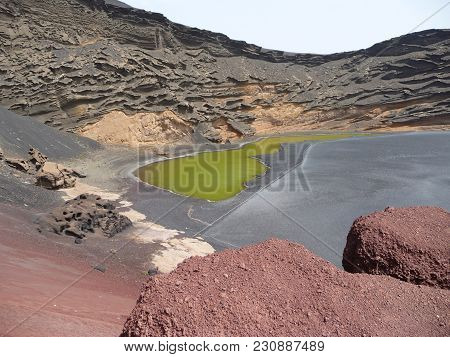 El Golfo - The Most Colourful Place Of Lanzarote Spain Is The Green Lagoon In The Nature Reserve El