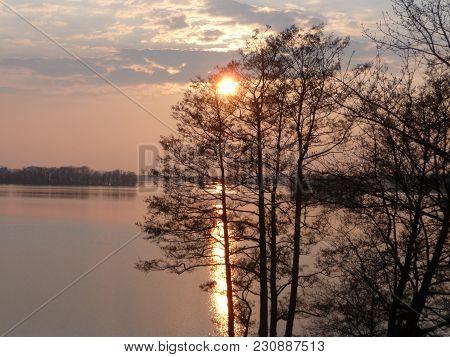 Malente - Sunset Over The Dieksee, Malente Schleswig-holstein North Germany