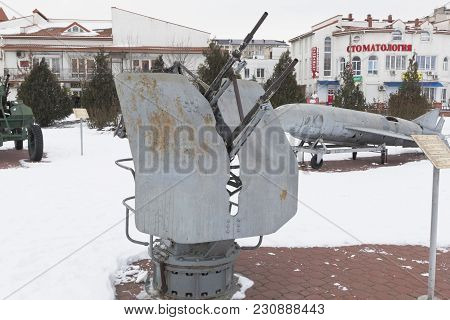 Evpatoria, Crimea, Russia - February 28, 2018: Two-gun 14.5-mm Marine Turbine Unit 2m-7 In The Museu