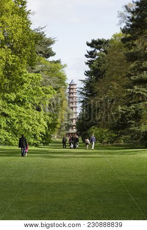 London, Uk - April 18, 2014. The Great Pagoda At Kew Gardens Viewed From Cedar Vista. The Gardens We