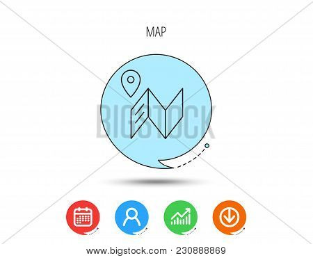 Map Icon. Gps Navigation With Pin Sign. Calendar, User And Business Chart, Download Arrow Icons. Spe