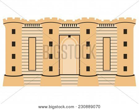 Bastille Fortress. Medieval Castle. Bastille Day, July 14. Isolated On White Background. Vector Illu