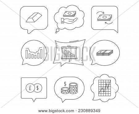 Banking, Cash Money And Statistics Icons. Money Flow, Gold Bar And Dollar Usd Linear Signs. Dynamics