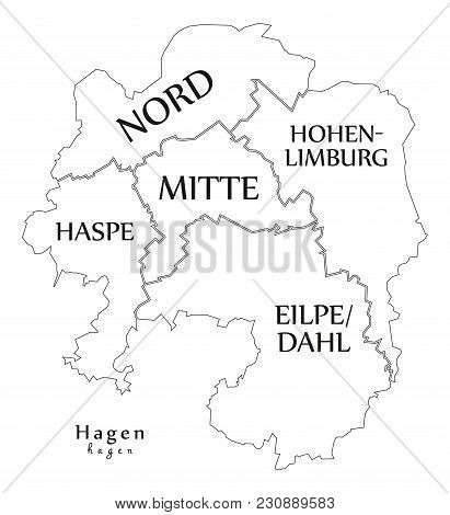 Modern City Map - Hagen City Of Germany With Boroughs And Titles De Outline Map