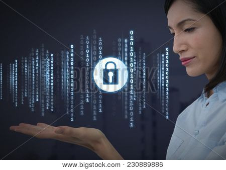 Digital composite of Businesswoman with hands palm open and security lock icon with code