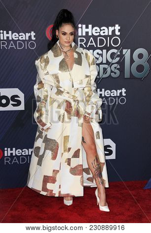 Kehlani at the 2018 iHeartRadio Music Awards held at the Forum in Inglewood, USA on March 11, 2018.