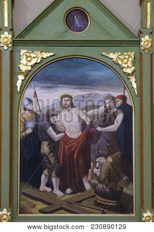 STITAR, CROATIA - NOVEMBER 11: 10th Stations of the Cross, Jesus is stripped of His garments, church of Saint Matthew in Stitar, Croatia on November 11, 2016.