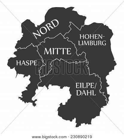 Hagen City Map Germany De Labelled Black Illustration