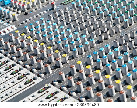 Giant Audio Sound Mixer Console With Color Buttons And Sliders