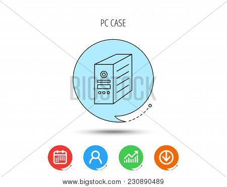 Computer Server Icon. Pc Case Or Tower Sign. Calendar, User And Business Chart, Download Arrow Icons