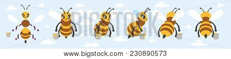 Vector Cartoon Style Bee Cute Character For Animation. Isolated On Blue Sky Background.