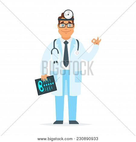 Vector Cartoon Style Illustration Of Smiling Doctor Holding X-ray Shot And Showing Okay Hand Gesture