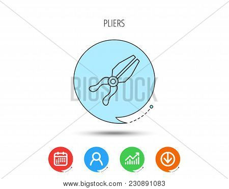 Pliers Icon. Repairing Fix Tool Sign. Calendar, User And Business Chart, Download Arrow Icons. Speec
