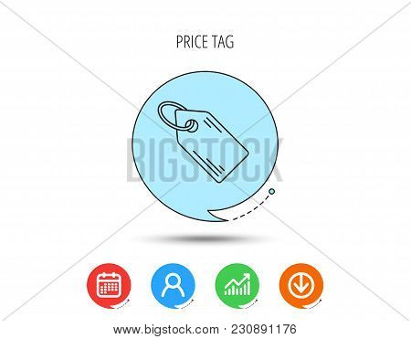 Price Tag Icon. Discount Label Sign. Shopping Coupon Symbol. Calendar, User And Business Chart, Down