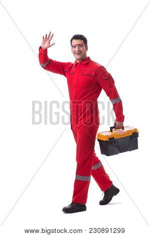 Contractor worker in red coveralls with toolbox isolated on whit