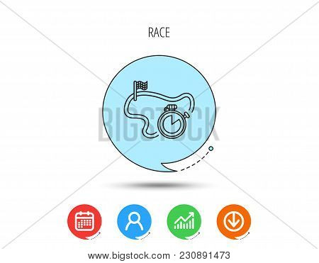 Race Road Icon. Finishing Flag With Timer Sign. Calendar, User And Business Chart, Download Arrow Ic