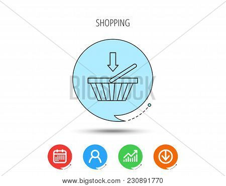 Shopping Cart Icon. Online Buying Sign. Calendar, User And Business Chart, Download Arrow Icons. Spe