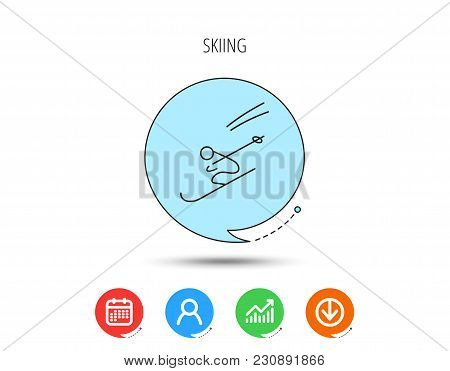 Skiing Icon. Skis Jumping Extreme Sport Sign. Speed Competition Symbol. Calendar, User And Business
