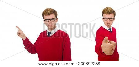 Student isolated on white