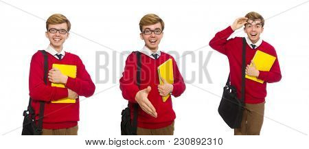 Student with bag and paper isolated on white