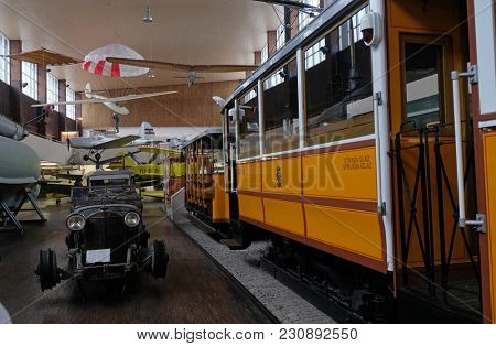 ZAGREB, CROATIA - DECEMBER 17: The Nikola Tesla Technical Museum, exhibits numerous historic aircraft, cars, machinery and equipment in Zagreb, Croatia, on December 17, 2016.