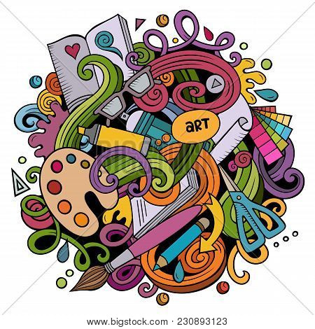 Cartoon Vector Doodles Art And Design Illustration. Colorful, Detailed, With Lots Of Objects Backgro