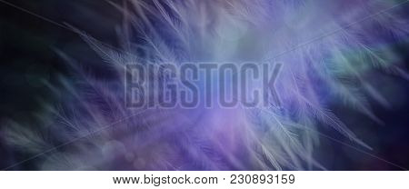 Bokeh Feather Ethereal Banner Background - Wide Dark Blue Bokeh Background With Ethereal Feather Imp