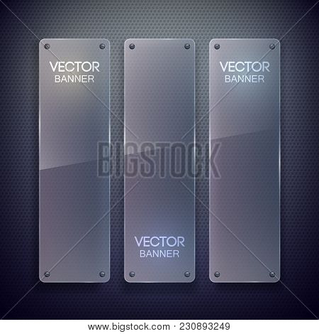 Web Blank Vertical Banners With Glass Surface Attached To Dark Grid Background Isolated Vector Illus
