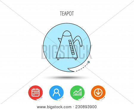 Teapot Icon. Kitchen Kettle Sign. Hot Drink Appliance Tool. Calendar, User And Business Chart, Downl