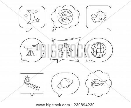 Ufo, Planet And Telescope Icons. World, Global Network And Night Linear Signs. Tnt Dynamite, Fire Fl