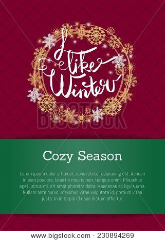I Like Winter Cosy Season Poster In Decorative Frame Silver And Golden Snowflakes Snowballs Of Gold