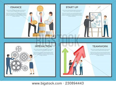 Set Of Posters Dedicated To Business. Vector Illustration Of Employees Holding Large Coins, Red Arro
