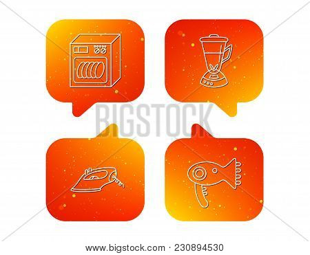 Dishwasher, Hairdryer And Mixer Icons. Iron Linear Sign. Orange Speech Bubbles With Icons Set. Soft