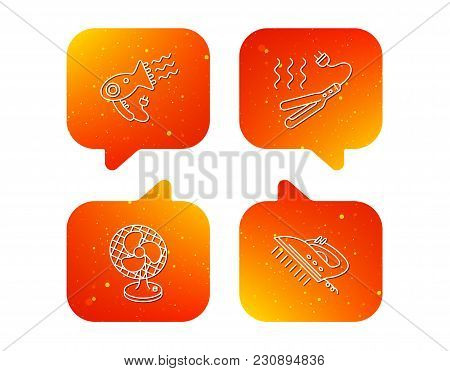 Steam Ironing, Curling Iron And Hairdryer Icons. Ventilator Linear Sign. Orange Speech Bubbles With