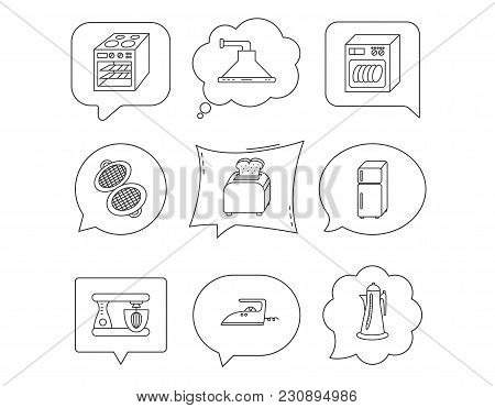 Dishwasher, Refrigerator Fridge And Blender Icons. Kitchen Hood, Mixer And Toaster Linear Signs. Ove