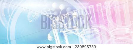 Image of molecules interface against test tube with chemical solution