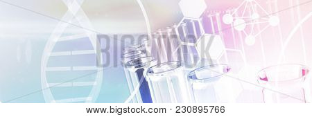 Image of DNA helix and molecules interface against test tube with chemical solution