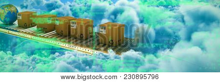 Image of data against clouds against blue sky