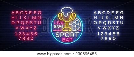 Bar Bar Logo In Neon Style. Football Fan Club, Neon Sign, Light Banner, Beer Label And Soccer Ball,