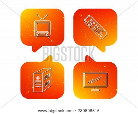 Retro Tv, Pc Case And Monitor Icons. Tv Remote Linear Sign. Orange Speech Bubbles With Icons Set. So