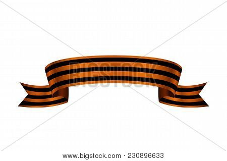 St. George Ribbon On White Background. May 9, February 23, Victory Day. Black And Orange Striped Bow
