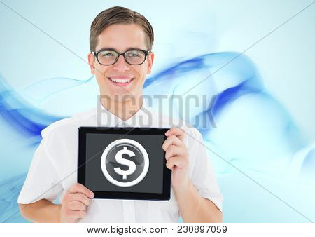 Digital composite of Dollar glass circle and man holding tablet