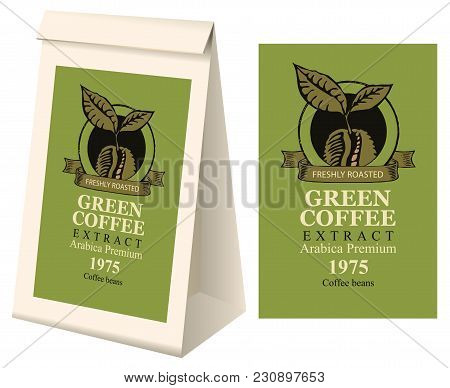Paper Packaging With Label For Green Coffee Extract. Vector Label For Green Coffee With Coffee Bean
