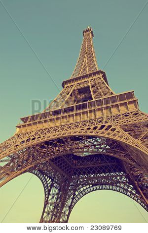Eiffel tower photographed in vintage style from below poster