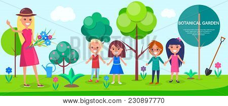 Botanical Garden Excursion For Little Children With Female Guide. Tall Green Trees, Colorful Flowers