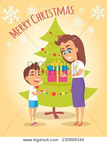 Merry Christmas Poster With Mother Giving Present To Son Near Christmas Tree On Beige Background Wit