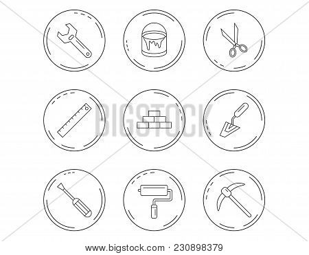 Screwdriver, Scissors And Adjustable Wrench Icons. Spatula, Mining Tool And Paint Roller Linear Sign