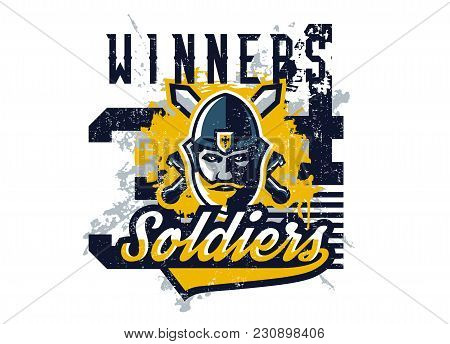 Vector Illustration On The Theme Of The Knight, Warrior Against The Backdrop Of Two Swords On The Cr