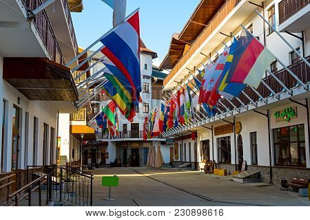 Rosa Khutor, Sochi, Russia - November 16, 2017: Street In The Olympics Village In Rosa Khutor, With
