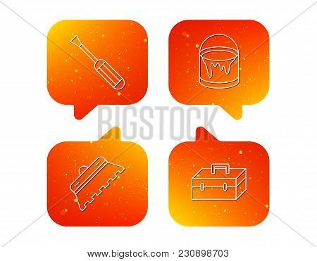 Screwdriver, Trowel Of Tile And Repair Toolbox Icons. Bucket Of Paint Linear Sign. Orange Speech Bub